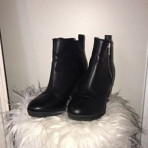 Divided By H&M Black Leather Booties